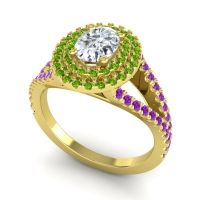 Ornate Oval Halo Dhala Diamond Ring with Peridot and Amethyst in 14k Yellow Gold