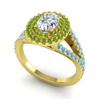 Ornate Oval Halo Dhala Diamond Ring with Peridot and Swiss Blue Topaz in 14k Yellow Gold