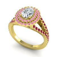 Ornate Oval Halo Dhala Diamond Ring with Pink Tourmaline and Ruby in 18k Yellow Gold