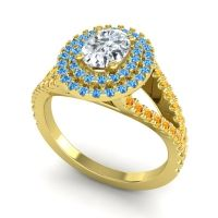 Ornate Oval Halo Dhala Diamond Ring with Swiss Blue Topaz and Citrine in 14k Yellow Gold