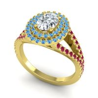 Ornate Oval Halo Dhala Diamond Ring with Swiss Blue Topaz and Ruby in 14k Yellow Gold