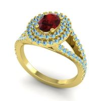 Ornate Oval Halo Dhala Garnet Ring with Aquamarine in 14k Yellow Gold