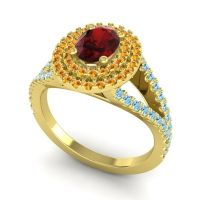 Ornate Oval Halo Dhala Garnet Ring with Citrine and Aquamarine in 14k Yellow Gold