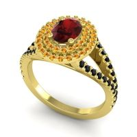 Ornate Oval Halo Dhala Garnet Ring with Citrine and Black Onyx in 18k Yellow Gold