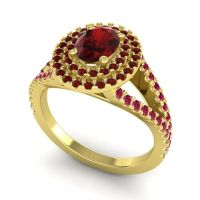 Ornate Oval Halo Dhala Garnet Ring with Ruby in 14k Yellow Gold