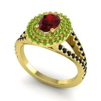 Ornate Oval Halo Dhala Garnet Ring with Peridot and Black Onyx in 14k Yellow Gold