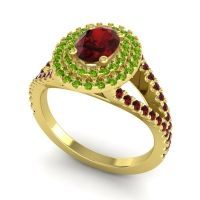 Ornate Oval Halo Dhala Garnet Ring with Peridot in 14k Yellow Gold
