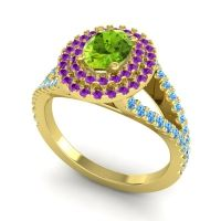 Ornate Oval Halo Dhala Peridot Ring with Amethyst and Swiss Blue Topaz in 18k Yellow Gold