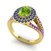 Ornate Oval Halo Dhala Peridot Ring with Blue Sapphire and Amethyst in 18k Yellow Gold