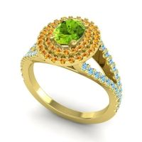 Ornate Oval Halo Dhala Peridot Ring with Citrine and Aquamarine in 14k Yellow Gold