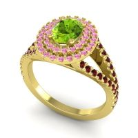 Ornate Oval Halo Dhala Peridot Ring with Pink Tourmaline and Garnet in 14k Yellow Gold