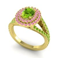 Ornate Oval Halo Dhala Peridot Ring with Pink Tourmaline in 14k Yellow Gold