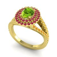 Ornate Oval Halo Dhala Peridot Ring with Ruby and Citrine in 18k Yellow Gold