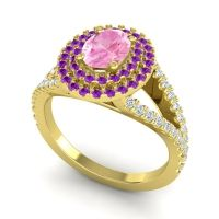 Ornate Oval Halo Dhala Pink Tourmaline Ring with Amethyst and Diamond in 14k Yellow Gold