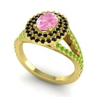 Ornate Oval Halo Dhala Pink Tourmaline Ring with Black Onyx and Peridot in 14k Yellow Gold