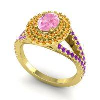Ornate Oval Halo Dhala Pink Tourmaline Ring with Citrine and Amethyst in 14k Yellow Gold