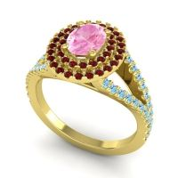 Ornate Oval Halo Dhala Pink Tourmaline Ring with Garnet and Aquamarine in 18k Yellow Gold