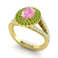 Ornate Oval Halo Dhala Pink Tourmaline Ring with Peridot and Diamond in 18k Yellow Gold