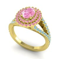 Ornate Oval Halo Dhala Pink Tourmaline Ring with Aquamarine in 14k Yellow Gold
