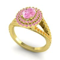 Ornate Oval Halo Dhala Pink Tourmaline Ring with Citrine in 18k Yellow Gold