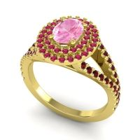 Ornate Oval Halo Dhala Pink Tourmaline Ring with Ruby and Garnet in 18k Yellow Gold