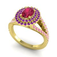 Ornate Oval Halo Dhala Ruby Ring with Amethyst and Pink Tourmaline in 14k Yellow Gold