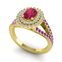 Ornate Oval Halo Dhala Ruby Ring with Diamond and Amethyst in 18k Yellow Gold