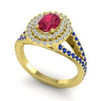 Ornate Oval Halo Dhala Ruby Ring with Diamond and Blue Sapphire in 18k Yellow Gold