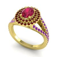 Ornate Oval Halo Dhala Ruby Ring with Garnet and Amethyst in 18k Yellow Gold