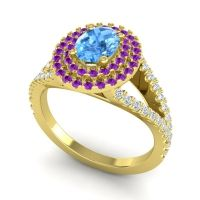 Ornate Oval Halo Dhala Swiss Blue Topaz Ring with Amethyst and Diamond in 14k Yellow Gold