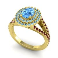 Ornate Oval Halo Dhala Swiss Blue Topaz Ring with Aquamarine and Garnet in 18k Yellow Gold