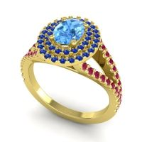 Ornate Oval Halo Dhala Swiss Blue Topaz Ring with Blue Sapphire and Ruby in 14k Yellow Gold
