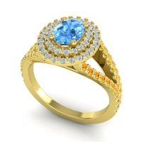 Ornate Oval Halo Dhala Swiss Blue Topaz Ring with Diamond and Citrine in 14k Yellow Gold