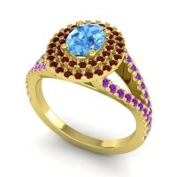 Ornate Oval Halo Dhala Swiss Blue Topaz Ring with Garnet and Amethyst in 14k Yellow Gold