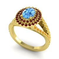 Ornate Oval Halo Dhala Swiss Blue Topaz Ring with Garnet and Citrine in 14k Yellow Gold