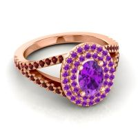 Ornate Oval Halo Dhala Amethyst Ring with Garnet in 18K Rose Gold