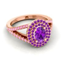 Ornate Oval Halo Dhala Amethyst Ring with Pink Tourmaline in 14K Rose Gold
