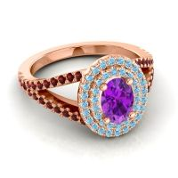 Ornate Oval Halo Dhala Amethyst Ring with Aquamarine and Garnet in 14K Rose Gold