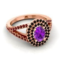 Ornate Oval Halo Dhala Amethyst Ring with Black Onyx and Garnet in 18K Rose Gold