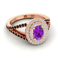 Ornate Oval Halo Dhala Amethyst Ring with Diamond and Black Onyx in 14K Rose Gold