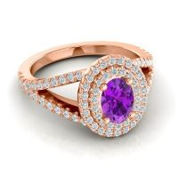 Ornate Oval Halo Dhala Amethyst Ring with Diamond in 14K Rose Gold