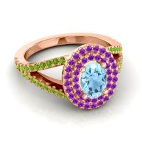 Ornate Oval Halo Dhala Aquamarine Ring with Amethyst and Peridot in 14K Rose Gold