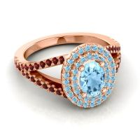 Ornate Oval Halo Dhala Aquamarine Ring with Garnet in 18K Rose Gold