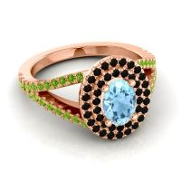 Ornate Oval Halo Dhala Aquamarine Ring with Black Onyx and Peridot in 14K Rose Gold
