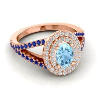 Ornate Oval Halo Dhala Aquamarine Ring with Diamond and Blue Sapphire in 18K Rose Gold