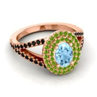 Ornate Oval Halo Dhala Aquamarine Ring with Peridot and Black Onyx in 14K Rose Gold