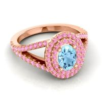 Ornate Oval Halo Dhala Aquamarine Ring with Pink Tourmaline in 18K Rose Gold