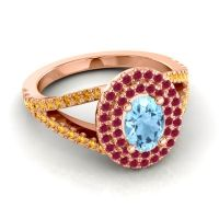 Ornate Oval Halo Dhala Aquamarine Ring with Ruby and Citrine in 14K Rose Gold