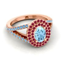 Ornate Oval Halo Dhala Aquamarine Ring with Ruby and Swiss Blue Topaz in 18K Rose Gold