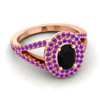 Ornate Oval Halo Dhala Black Onyx Ring with Amethyst in 18K Rose Gold